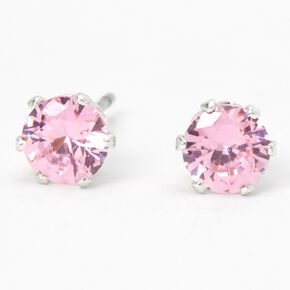 Silver Cubic Zirconia Round Stud Earrings - Pink, 5MM,