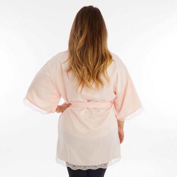 Blush Satin Lace Trim Robe - L/XL,