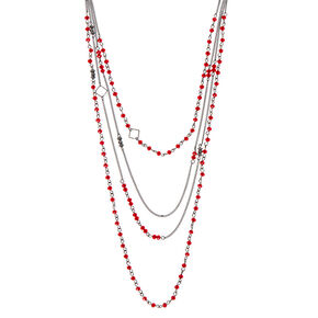 Hematite Bead Multi Strand Necklace - Red,