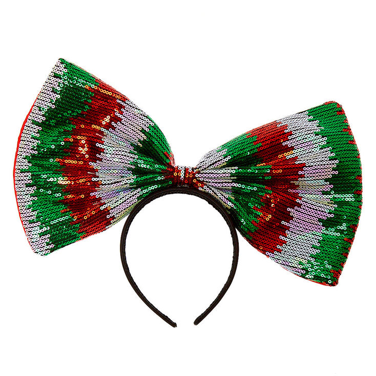 Oversized Sequin Bow Headband,