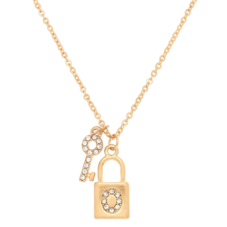 Gold Lock & Key Initial Pendant Necklace - O,