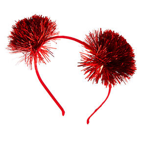 Tinsel Pom Pom Ears Headband - Red,