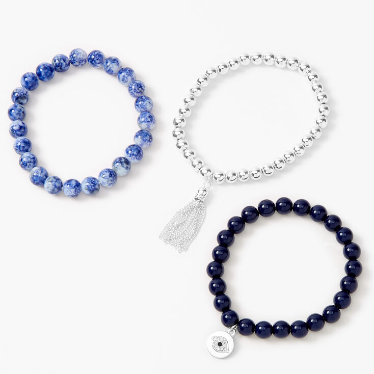 Evil Eye Marble Beaded Stretch Bracelets - Blue, 3 Pack,