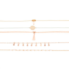 Gold Pastel Choker Necklaces - 5 Pack,