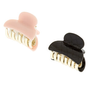 Pale Pink & Black Quilted Mini Hair Claws,