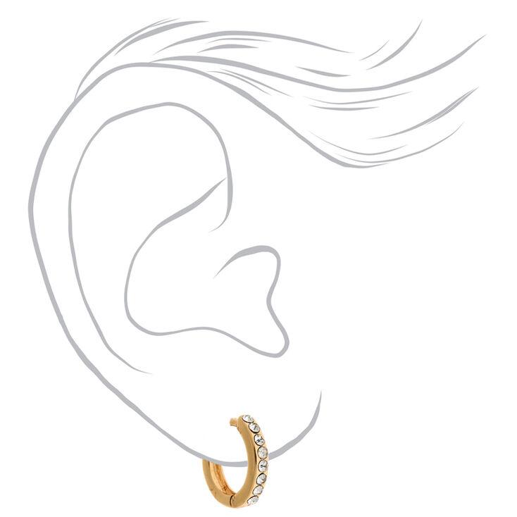 Gold 10MM Embellished Huggie Hoop Earrings,