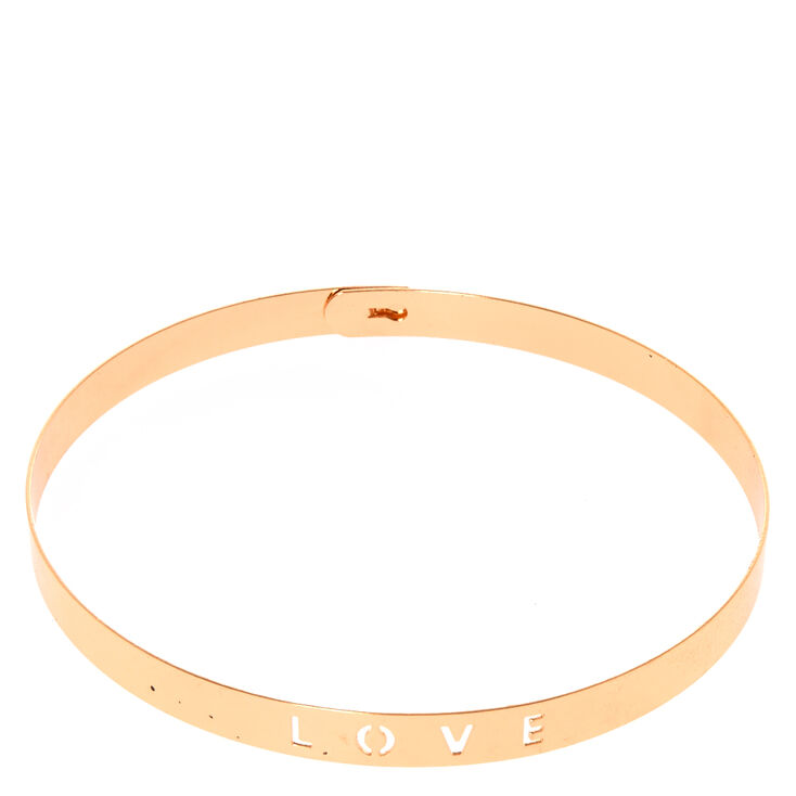 Rose Gold-Tone LOVE Cutout Choker Necklace,