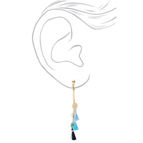 "Gold 2.5"" Disc Tassel Drop Earrings - Blue,"