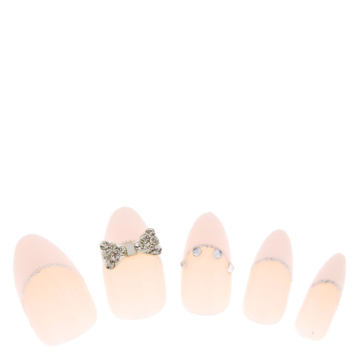 French 3D Bow Tie Instant Nails,