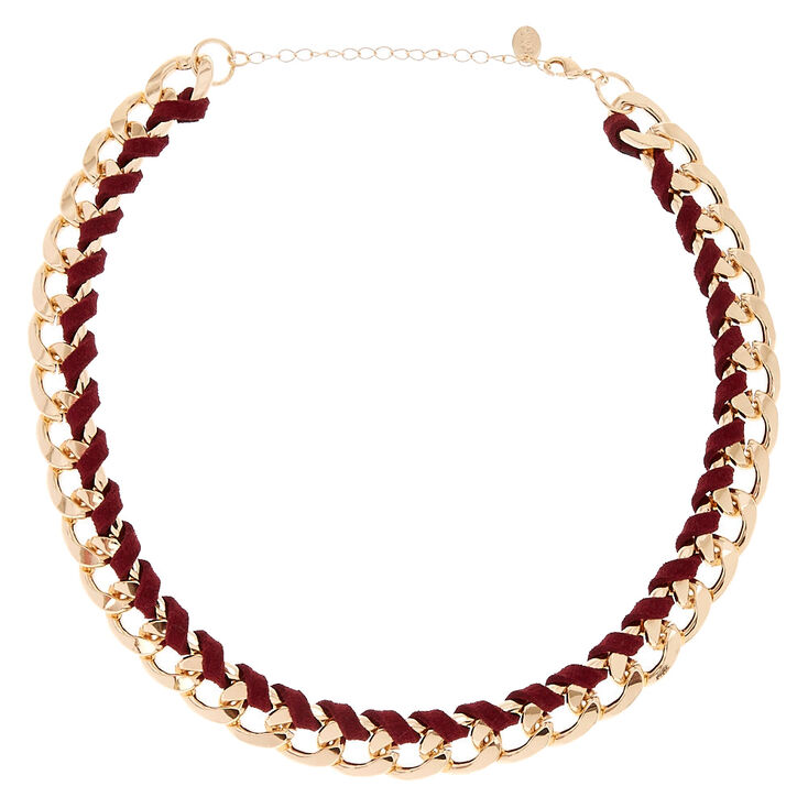 Gold-Tone & Burgundy Suede Wrapped Chain Necklace,