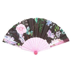 Floral Folding Fan - Black,