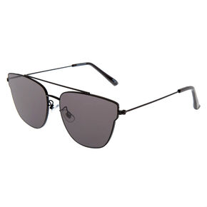 Mirrored Aviator Sunglasses - Black,