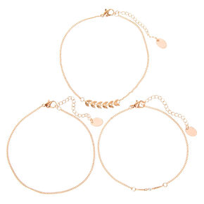 Rose Gold Pearl Leaf Chain Anklets - 3 Pack,