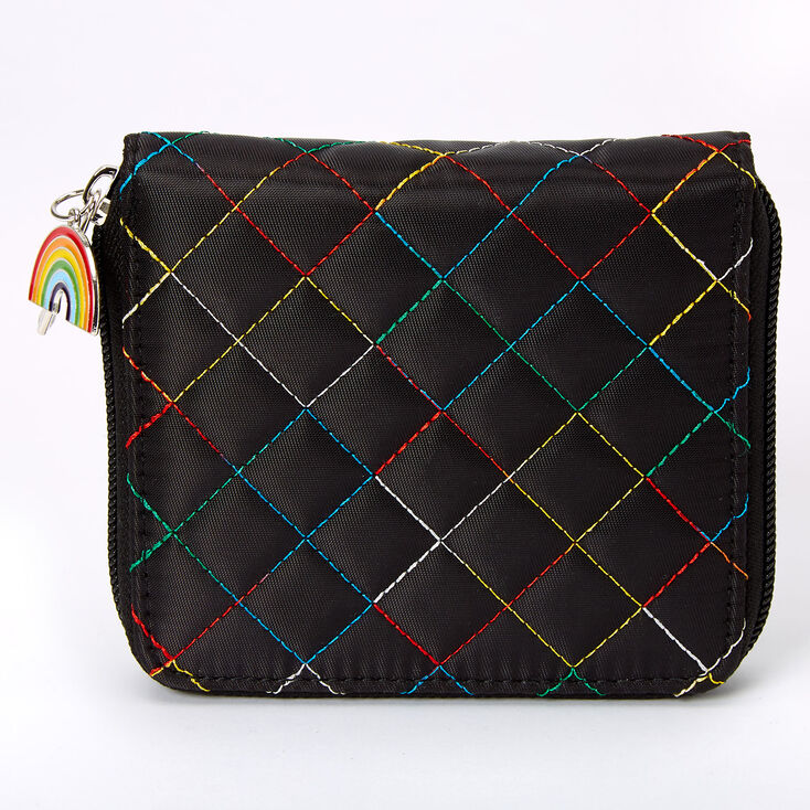 Rainbow Stitched Quilted Mini Zip Wallet - Black,