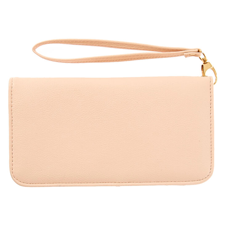 Blush Pink Faux Leather Wristlet,