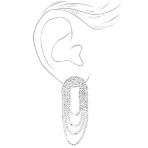 Silver Cascading Rhinestones Lasso Drop Earrings,