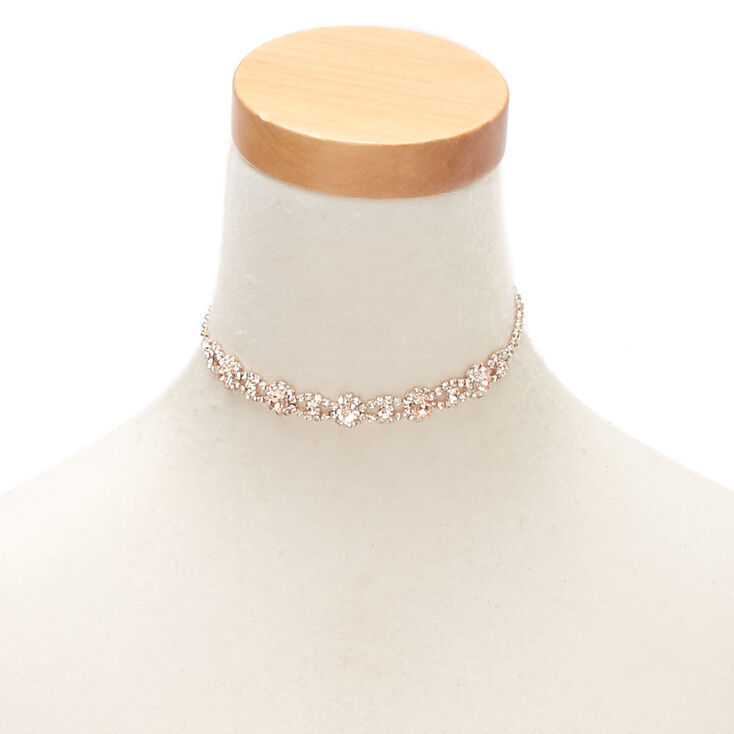 Rose Gold Floral Rhinestone Choker Necklace - Blush,