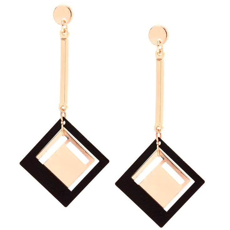 Rose Gold-Tone & Black Geometric Drop Earrings,