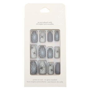 Spider Faux Nail Set - Black, 24 Pack,