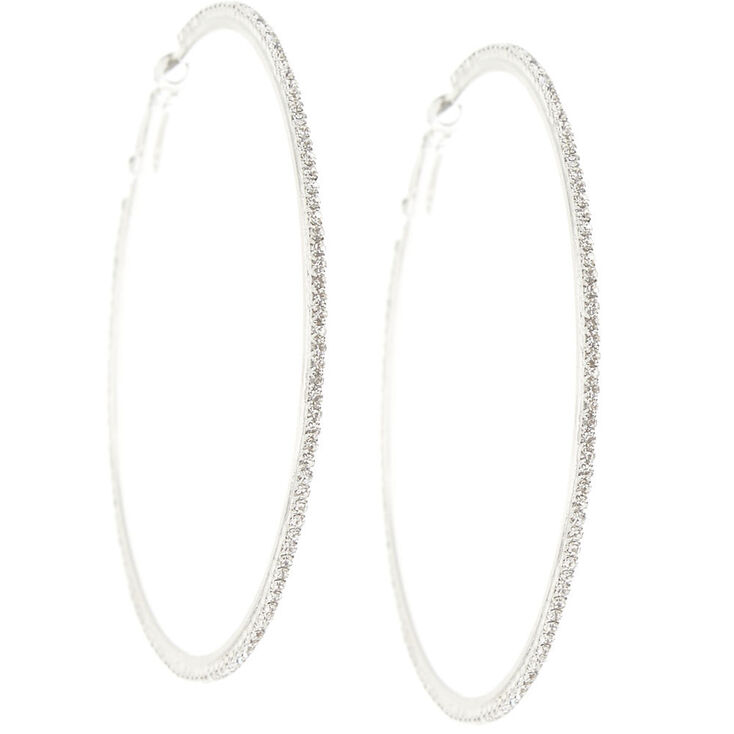 70MM Silver-Tone Pave Hoop Earrings,