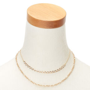 Gold Pearl Double Chain Statement Necklace,