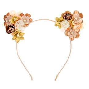 Pearl Flower Cat Ears Headband - Rose Gold,