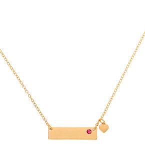 Gold October Birthstone Bar Pendant Necklace - Rose,