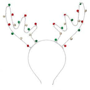 Bell Reindeer Antlers Headband - Silver,