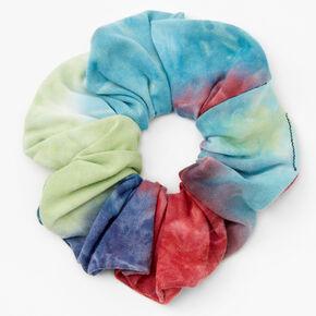 Medium Blue & Olive Green Tie Dye Hair Scrunchie,