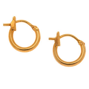 18kt Gold Plated 10MM Hinge Hoop Earrings,