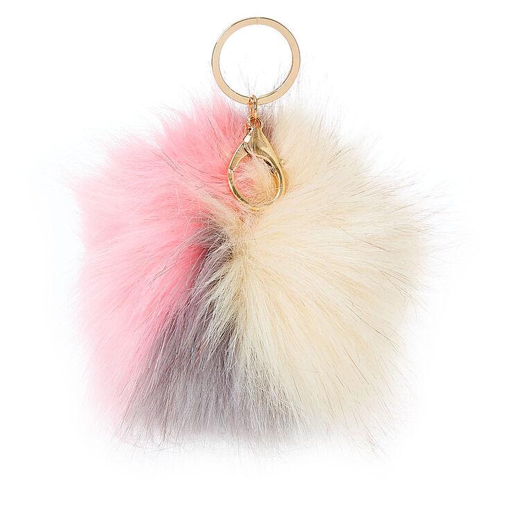 Neapolitan Faux Fur Pom Pom Keychain,