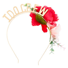 Floral I Do Crew Headband - Gold,