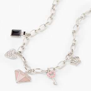 Silver Elegant Evenings Charm Pendant Necklace,