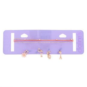 Spring In Paris Charm Choker Necklaces - Pink, 3 Pack,