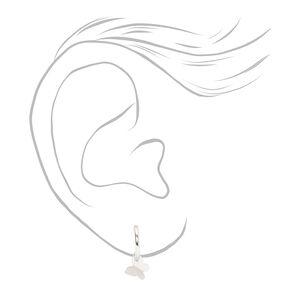 Sterling Silver 10MM Butterfly Huggie Hoop Earrings,