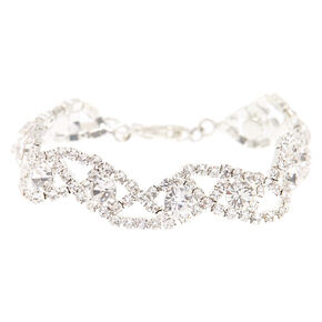 Silver Simulated Crystal Wave Bracelet,