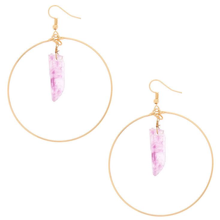 Crystal 60MM Circle Drop Earrings - Amethyst,