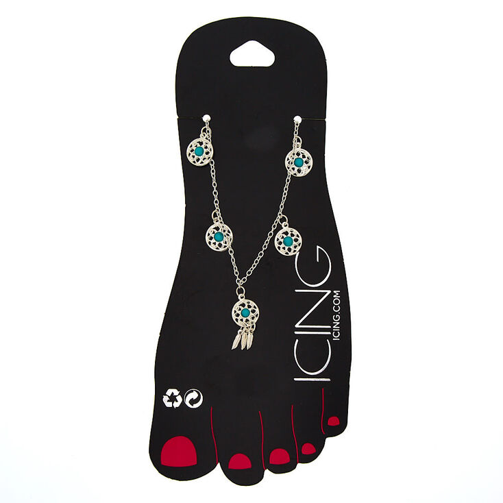Dreamcatcher Charm Anklet - Turquoise,
