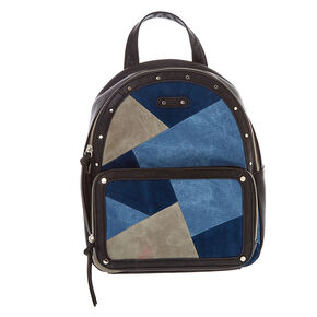 Denim Patchwork Backpack,