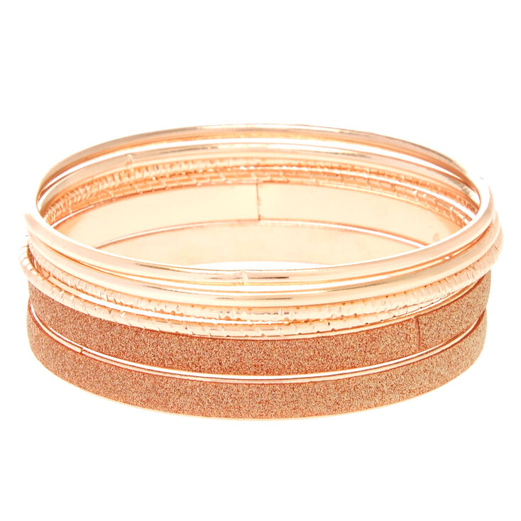 Rose Gold Mixed Bangle Bracelets - 6 Pack,