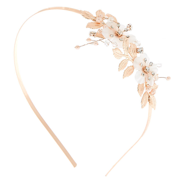 Rose Gold Rhinestone Floral Headband,