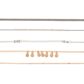 Mixed Metal Dainty Chokers - 5 Pack,