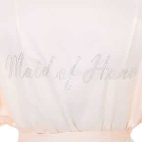 Light Pink Satin & Crystal Maid of Honor Robe,