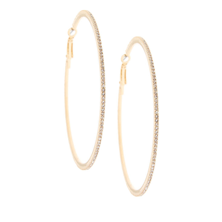 70MM Gold-Tone Stone Hoop Earrings,