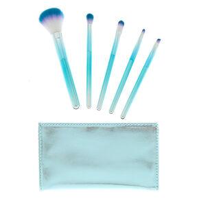 Mermazing Chrome Makeup Brush Set - Teal, 5 Pack,