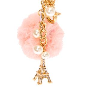 Pink Paris Pom Pom Keychain,