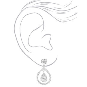 "Silver Cubic Zirconia 1"" Floating Teardrop Drop Earrings,"