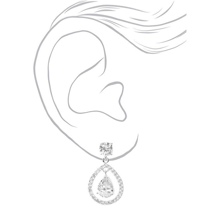 """Silver Cubic Zirconia 1"""" Floating Teardrop Drop Earrings,"""