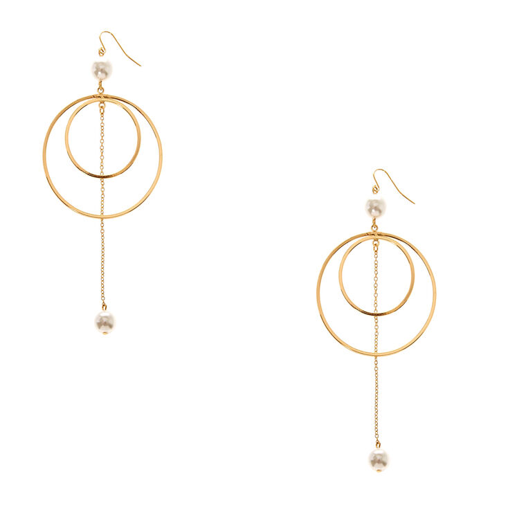 Gold-Tone & Pearl Double Hoop Earrings,