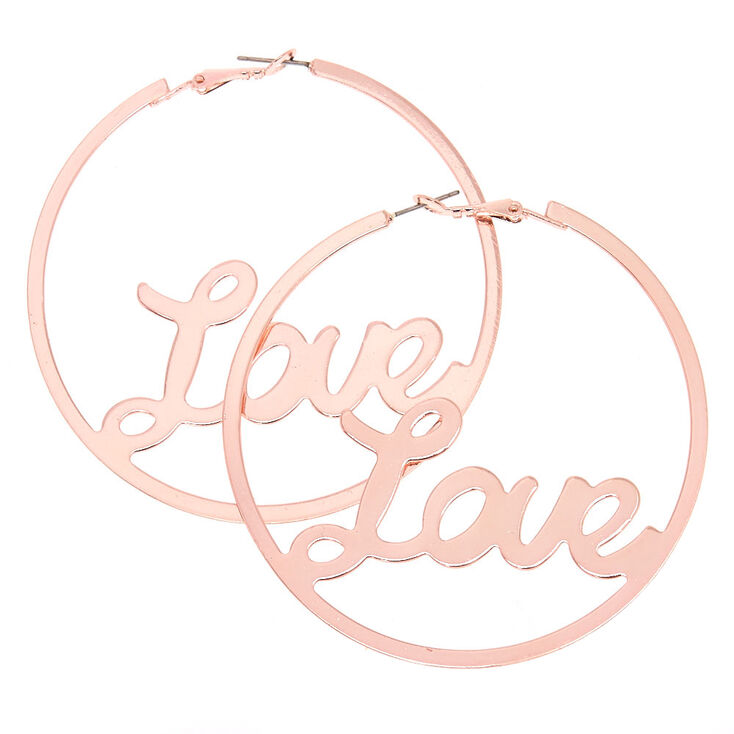 70 MM Rose-Gold Tone Love Hoop Earrings,